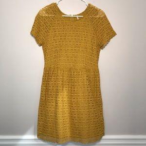 Free People Goldenrod Lace Dress Mustard Yellow